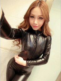 Wholesale Leather Catsuit Long Sleeve - new arrival Woman Black Sexy Bodysuit Costume Fantasias Sexy Latex Catsuit With Zipper To Crotch Long Sleeve Pvc Leather Erotic Lingerie