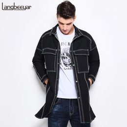 Wholesale Trench Coat Jeans Fashion - Wholesale- Autumn New Fashion Brand Mens Trench Coat Men Winter British Style Mens Denim Jacket Trend Jeans Long Trench Coat Men M-5XL