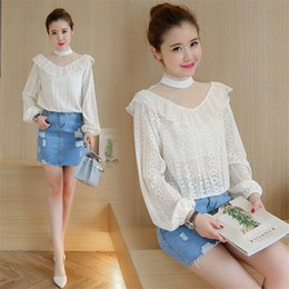Wholesale Korean Tulle Shirt - fashion new lace gauze ruffles sheer long sleeve blouses plus size summer spring women cute tulle hollow out short shirts tops Korean