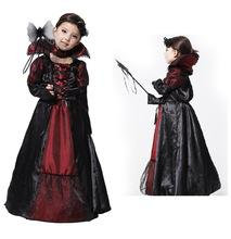 Wholesale Stage Necklace - Halloween Vampire Princess Children Halloween Costume Lace Dress + Necklace Set Kid Party Dress Performance Cosplay Costumes