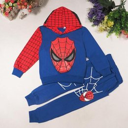 Wholesale Kids Spiderman Tracksuit - Boys Spring Autumn Spiderman Sports Suit 2 Pieces Set Tracksuits Kids Clothing Sets 100-140cm Casual Clothes Hoodie + Pant for 2-7T
