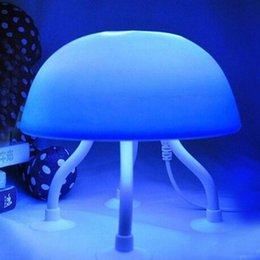 Wholesale Novelty Jellyfish - Wholesale- Jelly Fish Jellyfish LED Mood Light Night Lamp With USB Cable Novelty Lighting For Kids Children Holiday (Blue+White)