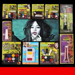 Wholesale Oil Paint Toxic - Halloween Tattoo Face Body Paint Oil Painting Art Non-toxic Water Paint Horror Party Makeup Vampire Zombie Makeup Palette CCA7354 20pcs