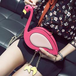Wholesale Cute Womens Bag - Cute Flamingos Shaped Womens Chain Cross Body Shoulder Bag Purse Clutch Fashion Messenger Mobile Phone Bag PU Handbag KKA2889