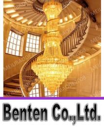 Wholesale floor chandeliers - BE34 Penthouse Floor Villa Stairs Duplex Mansion Hotel Lobby Large Living Room Lamp K9 Crystal Chandelier Pendant Droplight Lighting