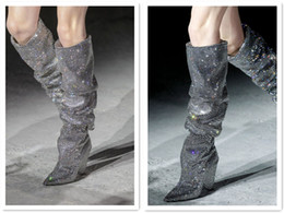 Wholesale Denim Boots For Women - Luxury Brand Rhinestone Shinny Crystal Boots for women Spike Heels Over the knee t show Wedding Party Booties