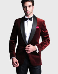 Wholesale red velvet shawls - Handsome One Button Dark Red Velvet Groom Tuxedos Shawl Lapel Groomsmen Best Man Wedding Prom Dinner Suits (Jacket+Pants+Girdle+Tie) G5235