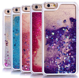 Wholesale Glitter Iphone Phone Cases - Transparent phone cases Fun Glitter Star Quicksand Liquid Phone Back cover For Iphone 5 6 6s plus 7 7plus 8 8plus x Samsung S6 S7 S7 edge