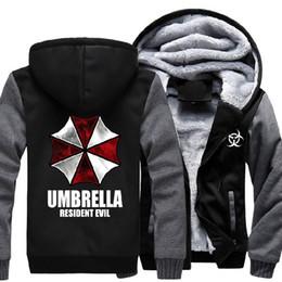 Wholesale umbrella sleeves - Resident Evil Umbrella Thicken Coat Jacket Hoodie Sweatshirt Mens Casual Winter Thick Warm Hooded Cotton Fleece US Size M-3XL