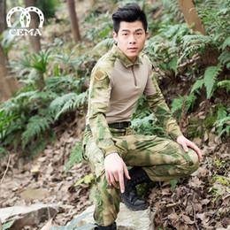 Wholesale Bdu Army Uniform - Men Outdoor Frog Suit Army Military Uniform Tactical BDU Navy Combat CS Sets (Shirt+Pants) Multicam hunting sets 11 colors