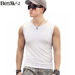 Wholesale Workout Clothes For Men - Wholesale-Beswlz Men Top Sleeveless Vest Fitness Tank Tops For Men Cotton O-Neck Sleeveless Workout Pure Color Tank Male Tops Clothing