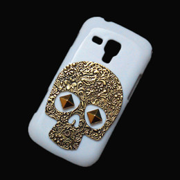 Wholesale Galaxy S Duos Skin - Fashion Case Cover for Samsung Galaxy S Duos S7562, Retro Vintage Bronze Metallic Skull Punk Stud Rivet Back Hard Protective Skin Shell