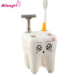 Wholesale Toothbrush Bracket - Wholesale- 4 Hold Stand Toothbrush Shelf , Cartoon Bathroom accessories Sets Bracket Container Toothbrush Holder