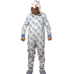 Wholesale Women Cotton Pajamas Sleepwear - Wholesale-Unisex Flannel Adult Snow Queen Olaf Pajamas Pyjamas Women Onesie Men Cosplay Animal Onesies Sleepwear