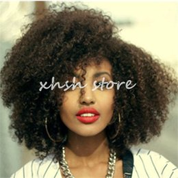 Wholesale Lace Front Wigs Chinese Bangs - Brazilian Hair Afro Kinky Curly Full Lace Wigs With Bangs Unprocessed Human Hair Lace Front Wig Curly For Black Women