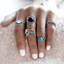 Wholesale Tibet Silver Natural Stone Rings - 5 pcs set Ancient Silver Color Elephant Midi Rings Set For Women Natural Stone Boho Beach Vintage Punk Knuckle Ring Jewelry Gift