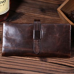 Wholesale Large Vintage Clutch - Hot Sale Fashion Leather Wallets large capacity Vintage Credit Card Dark brown high quality Brand New leather wallet for men