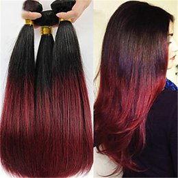 Wholesale Short Straight Hair Extensions - Ombre Red Remy Human Hair Extensions Virgin Unprocessed Straight Brazilian Hair Weave Bundles for Short Hair 3 Pieces lot
