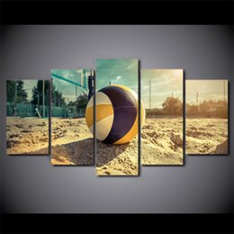 modern sports oil paintings UK - 5 Panel Framed HD Printed Summer Beach Volleyball Sports Canvas Wall Art Modern Painting Poster Picture For Home Decor
