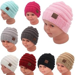 Wholesale Knit Beanies For Babies - Kids Winter Keep Warm CC Beanie Labeling Hats Wool Knit Skull Designer Hat Outdoor Sports Caps For Baby Children Kid 2018 Fashion