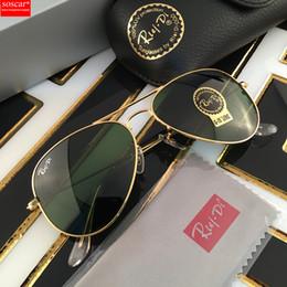Wholesale Sunglasses Men Driving - Excellent Quality Soscar Aviator Sunglasses Metal Frame Glass Lenses Brand Designer Sunglasses for Man Women Gafas de sol 55 58 62mm in Box