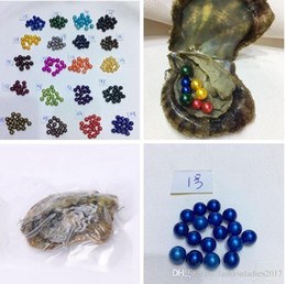 Wholesale Wholesale Oyster Shells - 20 colors 6-7MM Round pearl in Oysters Akoya Oyster shell with natural coloured pearls Jewelry By Vacuum Packed factory sale