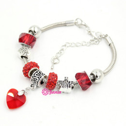 Wholesale Crystal Jewelry Setting Diy - New Arrival Wholesale DIY Jewelry Bracelet Hot Red Beads Crystal Love Heart Charm bracelets for women Valentine Day Gift Jewelry Bracelet