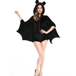 Wholesale Christmas Clothes For Women - For women Animal Costume Sexy Vampire Costume Adult Hooded Batman Coat Halloween Cosplay Costume Black Clothing