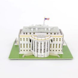 Wholesale Paper House Models - Wholesale-DIY Puzzle The White House Castle 3D Puzzle Toy Paper Model Creative Toy For Children's Birthday Gift House Model Building