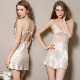 Wholesale Plus Size Halter Nightgown - Wholesale- Ladies Sexy Silk Satin Night Dress Halter Nighties Nightgown Plus Size Spaghetti Strap Lace Sleepwear Sleepshirts For Women
