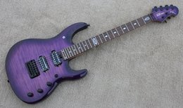 Wholesale Guitar Locks - Custom JPX 24 Frets Music Man Ernie Ball JohnPetrucci Purple Flame Maple Top Electric Guitar Locking Tremolo Bridge Black Hardware