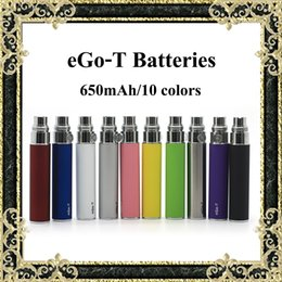 Wholesale Ce4 Dct - Ego-T Batteries Top Quality 650mAh eGo T Battery Sufficient Capacity 10 Colors Available Fit MT3 CE4 ViVi Nova DCT Atomizers Fast Shipping