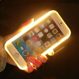 Wholesale Led Plastic Covers - LED Phone Case Illuminated Selfie Fill in Light Phone Cover for iPhone 6 6Ss Luminous Phone cases for Samsung S6 S7
