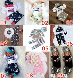 Wholesale European Clothing Brands - 2017 Christmas Xmas Baby Girls Boys Clothes Deer Tops T-shirt Romper & Deer Leggings Pants & infant Hat letetr Outfits Set 3pcs Outfits Set