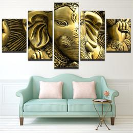 2019 pinturas religiosas Arte de la pared Golden Ganesha Imagen 5 Panel de decoración del hogar Arte religioso Pinturas para la sala de estar Comprar cartel de pared sin marco rebajas pinturas religiosas
