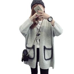 Wholesale Korean Knit Jacket - Wholesale- 2016 new sweater women thick long autumn winter Korean cardigan jacket loose knit shirt coat clothing vestidos MMY342