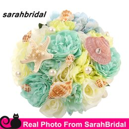 Wholesale Prom Flower Bouquets - 2016 Summer Beach Bridal Wedding Prom Bouquets with Shells Pearls for Brides Bridesmaid Holding Flowers Sale Cheap Elegant Colorful Petals