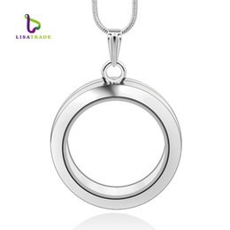 Wholesale Chains For Floating Lockets - 30mm Silver Round magnetic glass floating charm locket Zinc Alloy (chains included for free)LSFL02-1