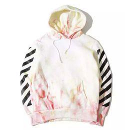 Wholesale Men S Ties Stripes - OFF WHITE Men Pullover Hoodies Tie-dyed Stripe Print Hooded Fleece Sweatshirt HBA OFF-WHITE C O VIRGIL ABLOH Men Women Hoodies YBF0917