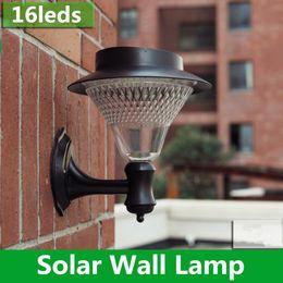 Wholesale 16led Solar Lights - 1X Outdoor Garden Yard Path Patio Solar Wall Light Popular 16LED Solar Lamp 3x1200mAh Ni-MH Battery Solar Lamp Decoration Wall Lampada