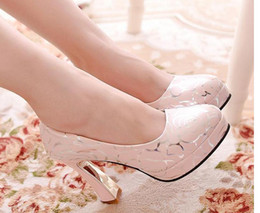 Wholesale Thick British Women - 16 new autumn fashion high-heeled shoes Round head British women's ultra comfortable thick with thick bottom with women's shoes