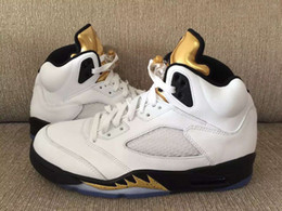 Wholesale Boxing Medal - Retro 5 Olympic Basketball Shoes Men And Women 5s Olympic Gold Tongue Metallic White Gold 5s Coin Medal Sneakers High Quality With Box