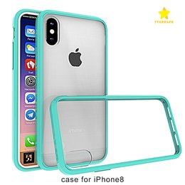 Wholesale Back Bumpers - For iPhone 8 Plus iPhone X Samsung Galaxy Note 8 Case Soft TPU Bumper + Clear Hybrid Back Cover Case For iphone 7 plus
