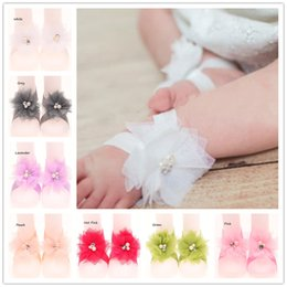Wholesale flower shoes for babies - Wholesale 24Pairs Baby barefoot Sandals Toddlers feet accessories for summer Feet Shoes Newborn Baby Socks Flower Shoes Photo Props