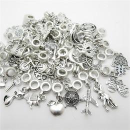 Wholesale Flat Jewelry - New Mix different 50pcs Vintage Big Hole Loose Beads European Pendant fit Pandora charm bracelet DIY Metal jewelry making