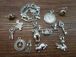 Wholesale Alice Wonderland Charm - Wholesale-Mix 20 40pcs of Alice Rabbit Charms Antique Silver Alice in Wonderland Charm Pendants