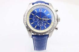 Wholesale Mens Clasp Belt - Luxury Brand Limited Style Mens Top Quality Quartz Movement New Stopwatch Men Chronograph Blue Leather Belt Watches Folding Clasp Wristwatch