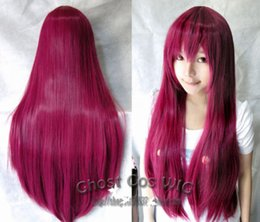 Wholesale Red Miku Wig - Free Shipping Heat Resistant >>Hatsune Miku Purple-red Long Straight Anime party Cosplay Full Wig HWL049
