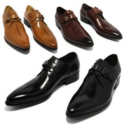 Wholesale Leather Dress Shoes For Men - Man point toe dress shoe Italian designer formal mens dress shoes genuine leather black luxury wedding shoes men flats office for male