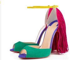 Wholesale Fringe Heels - 2016 large size New Sexy Open Toe High Heels Fringe Thin Heels Pumps Patchwork Sandals Ankle Strap Runway Party Shoes Women free shipping